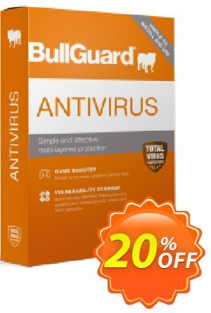 BullGuard 2018 Antivirus Coupon, discount BullGuard 2020 Antivirus 1-Year 3-PCs at USD$29.95 awful discounts code 2020. Promotion: awful discounts code of BullGuard 2020 Antivirus 1-Year 3-PCs at USD$29.95 2020