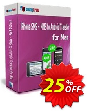 Backuptrans iPhone SMS + MMS to Android Transfer for Mac (Personal Edition) discount coupon Holiday Deals - best deals code of Backuptrans iPhone SMS + MMS to Android Transfer for Mac (Personal Edition) 2020