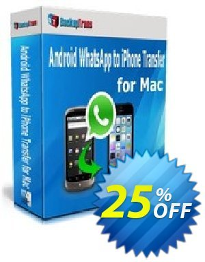 Backuptrans Android WhatsApp to iPhone Transfer for Mac discount coupon Backuptrans Android WhatsApp to iPhone Transfer for Mac (Personal Edition) awful promotions code 2021 - wondrous discounts code of Backuptrans Android WhatsApp to iPhone Transfer for Mac (Personal Edition) 2021