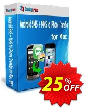 Backuptrans Android SMS + MMS to iPhone Transfer for Mac (Business Edition) 優惠券,折扣碼 Holiday Deals,促銷代碼: stunning discounts code of Backuptrans Android SMS + MMS to iPhone Transfer for Mac (Business Edition) 2020