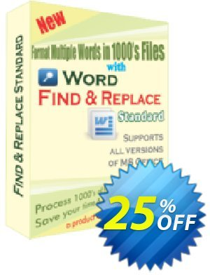 Word Find and Replace Standard Coupon, discount 25% OFF. Promotion: amazing offer code of Word Find and Replace Standard 2019