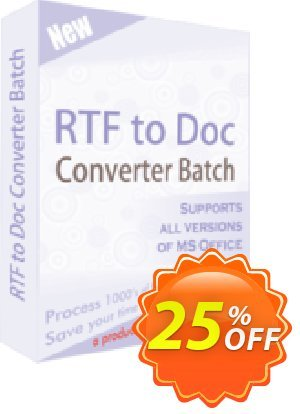 RTF TO DOC Converter Batch Coupon, discount 25% OFF. Promotion: wondrous discount code of RTF TO DOC Converter Batch 2019