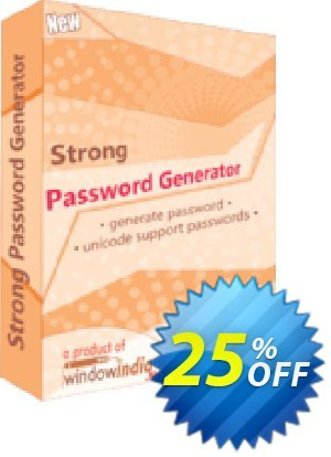 Strong Password Generator Coupon, discount 25% OFF. Promotion: hottest sales code of Strong Password Generator 2019