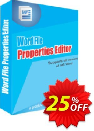 Word File Properties Editor Coupon, discount 25% OFF. Promotion: special promo code of Word File Properties Editor 2019