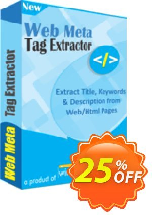 Web Meta Tag Extractor Coupon, discount 25% OFF. Promotion: wondrous deals code of Web Meta Tag Extractor 2019
