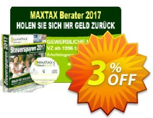 MAXTAX - Beraterversion 2017 - 100 Akten Coupon, discount MAXTAX SPAR-ABO. Promotion: excellent sales code of MAXTAX - Beraterversion 2017 - 100 Akten 2021