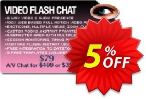 Video Flash Chat - Full Source Code Unlimited License Coupon, discount Give Me Five 5% Discount. Promotion: impressive offer code of Video Flash Chat - Full Source Code Unlimited License 2019