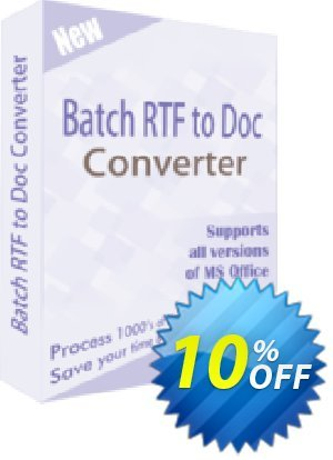 TheSkySoft Batch RTF to Doc Converter Coupon, discount 10%Discount. Promotion: marvelous discounts code of Batch RTF to Doc Converter 2021