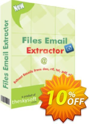 TheSkySoft Files Email Extractor Coupon, discount 10%Discount. Promotion: awesome offer code of Files Email Extractor 2021