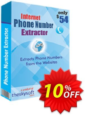 TheSkySoft Internet Phone Number Extractor Coupon, discount 10%Discount. Promotion: imposing sales code of Internet Phone Number Extractor 2020