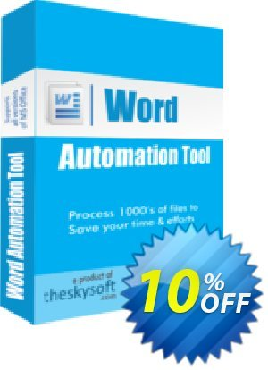 TheSkySoft Word Automation Tool Coupon, discount 10%Discount. Promotion: fearsome sales code of Word Automation Tool 2020