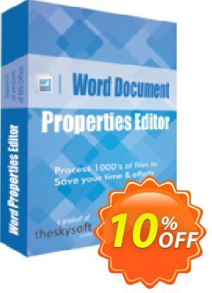 TheSkySoft Word Document Properties Editor Coupon, discount 10%Discount. Promotion: amazing discounts code of Word Document Properties Editor 2020