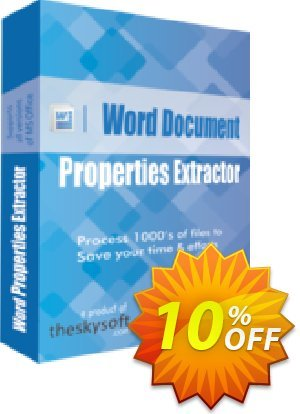TheSkySoft Word Document Properties Extractor Coupon, discount 10%Discount. Promotion: best sales code of Word Document Properties Extractor 2020
