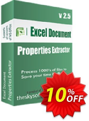TheSkySoft Excel Document Properties Extractor Coupon, discount 10%Discount. Promotion: amazing sales code of Excel Document Properties Extractor 2021