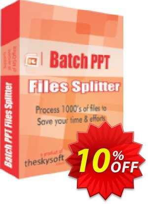 TheSkySoft Batch PPT Files Splitter Coupon, discount 10%Discount. Promotion: super promo code of Batch PPT Files Splitter 2021