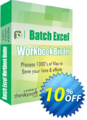 TheSkySoft Batch Excel Workbook Binder Coupon, discount 10%Discount. Promotion: wondrous sales code of Batch Excel Workbook Binder 2021