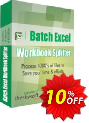 TheSkySoft Batch Excel Workbook Splitter Coupon, discount 10%Discount. Promotion: awful deals code of Batch Excel Workbook Splitter 2021