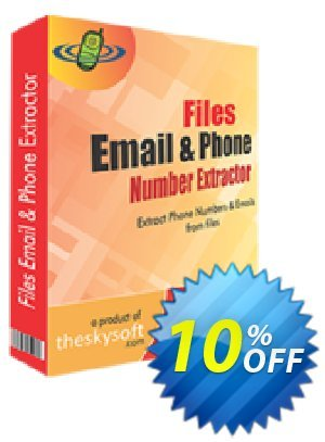TheSkySoft Files Email and Phone Number Extractor Coupon, discount 10%Discount. Promotion: amazing promotions code of Files Email and Phone Number Extractor 2021