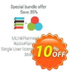 Special Bundle: MLinkPlanner 1.2 + RadioPlanner 2.1 Unlimited Coupon, discount MLinkPlanner 1.2 Single User license unlimited + RadioPlanner 2.1 Single User license unlimited awful deals code 2020. Promotion: awful deals code of MLinkPlanner 1.2 Single User license unlimited + RadioPlanner 2.1 Single User license unlimited 2020