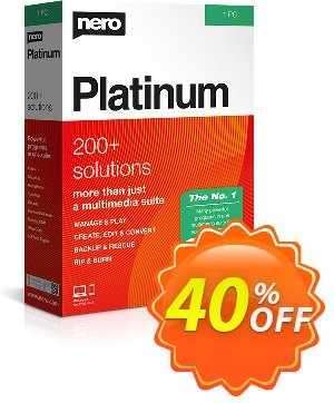 Nero Platinum Suite 2021 (1-year License) discount coupon 40% OFF Nero Platinum Suite (1-year License), verified - Staggering deals code of Nero Platinum Suite (1-year License), tested & approved
