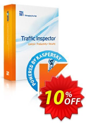 Traffic Inspector + Traffic Inspector AntiVirus Unlimited Coupon discount Traffic Inspector+Traffic Inspector Anti-Virus powered by Kaspersky (1 Year) Gold Unlimited exclusive discounts code 2019. Promotion: exclusive discounts code of Traffic Inspector+Traffic Inspector Anti-Virus powered by Kaspersky (1 Year) Gold Unlimited 2019