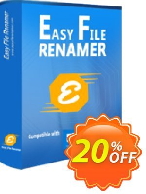 Easy File Renamer (1 year) Coupon, discount 20% OFF SORCIM Easy File Renamer (1 year), verified. Promotion: Imposing deals code of SORCIM Easy File Renamer (1 year), tested & approved