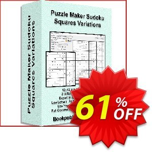 Puzzle Maker Sudoku Squares Variations 優惠券,折扣碼 Puzzle Maker Pro - Sudoku Large Squares Formidable promo code 2021,促銷代碼: marvelous deals code of Puzzle Maker Sudoku Variations 2021