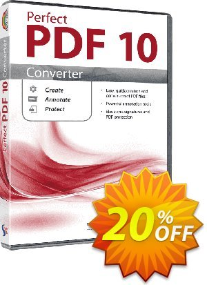 Perfect PDF 10 Converter Coupon, discount Affiliate Promotion. Promotion: awful promo code of Perfect PDF 10 Converter 2020