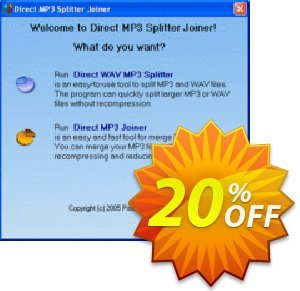 Pistonsoft Direct MP3 Splitter and Joiner discount coupon Direct MP3 Splitter and Joiner (Personal License) amazing offer code 2020 - amazing offer code of Direct MP3 Splitter and Joiner (Personal License) 2020