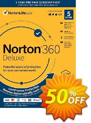 Norton 360 Deluxe Coupon, discount 50% OFF Norton 360 Deluxe, verified. Promotion: Formidable deals code of Norton 360 Deluxe, tested & approved