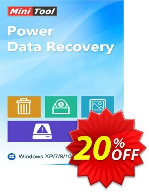 MiniTool Power Data Recovery Coupon, discount 20% off. Promotion: reseller 20% off