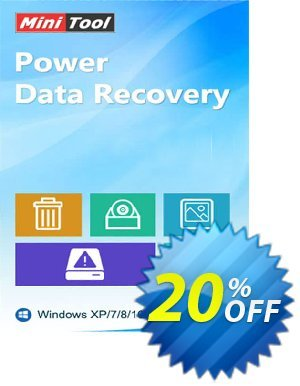 MiniTool Power Data Recovery (Yearly Subscription) Coupon, discount 20% off. Promotion: