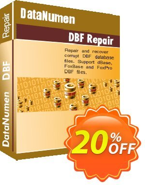 DataNumen DBF Repair Coupon, discount Post Order Coupon. Promotion: Coupon for educational and non-profit organizations