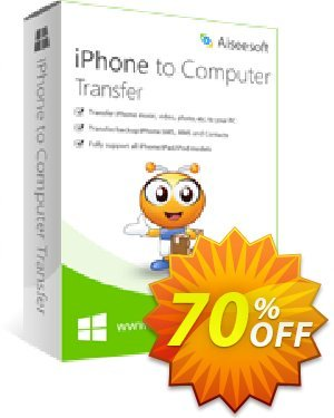 Aiseesoft iPhone to Computer Transfer Coupon, discount 40% Aiseesoft. Promotion: