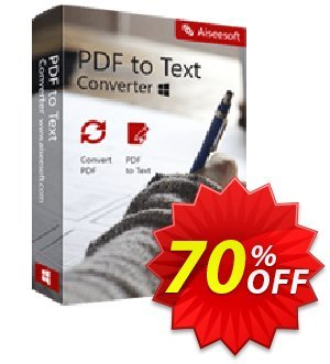 Aiseesoft PDF to Text Converter Coupon, discount 40% Aiseesoft. Promotion: 40% Off for All Products of Aiseesoft