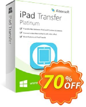 Aiseesoft iPad Transfer Platinum 優惠券,折扣碼 Aiseesoft iPad Transfer Platinum,促銷代碼: