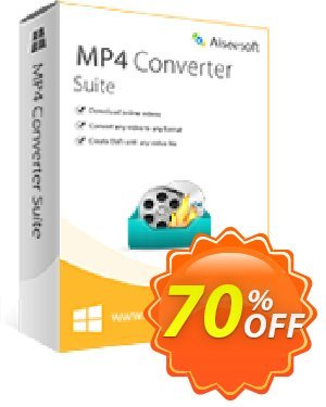 Aiseesoft MP4 Converter Suite Coupon, discount 40% Aiseesoft. Promotion: