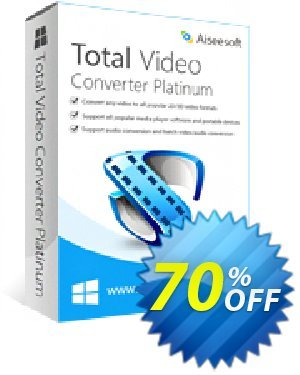 Aiseesoft Total Video Converter Platinum Coupon, discount Aiseesoft Total Video Converter Platinum imposing deals code 2020. Promotion: imposing deals code of Aiseesoft Total Video Converter Platinum 2020