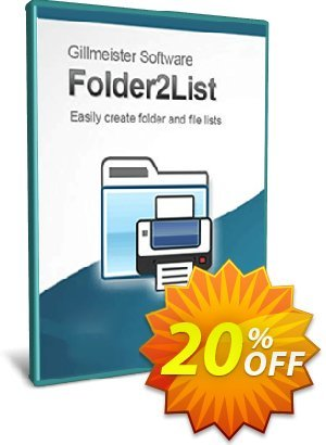 Folder2List Coupon, discount Coupon code Folder2List. Promotion: Folder2List offer from Gillmeister Software