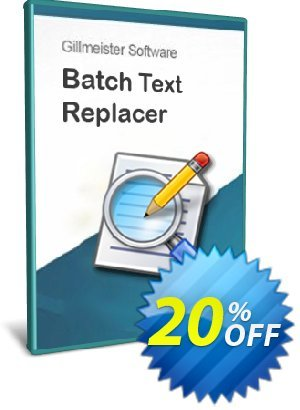 Batch Text Replacer - 20-User License Coupon, discount Coupon code Batch Text Replacer - 20-User License. Promotion: Batch Text Replacer - 20-User License offer from Gillmeister Software