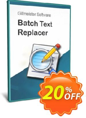 Batch Text Replacer - 25-User License Coupon, discount Coupon code Batch Text Replacer - 25-User License. Promotion: Batch Text Replacer - 25-User License offer from Gillmeister Software