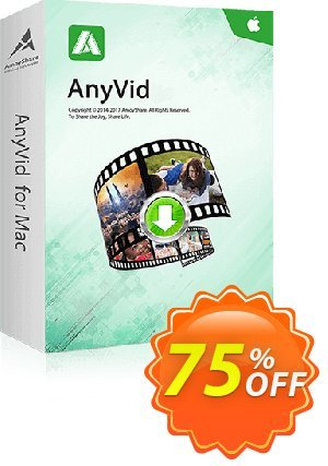 AnyVid for Mac Lifetime (5 PCs) Coupon, discount Coupon code AnyVid Mac Lifetime (5 PCs). Promotion: AnyVid Mac Lifetime (5 PCs) offer from Amoyshare