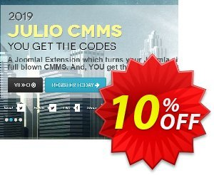 Julio CMMS for Joomla  - Starter License discount coupon Julio CMMS for Joomla  - Starter License Exclusive discount code 2020 - Hottest deals code of Julio CMMS for Joomla  - Starter License 2020