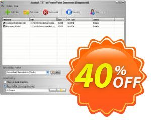 Aostsoft TXT to PowerPoint Converter Coupon, discount Aostsoft TXT to PowerPoint Converter Formidable sales code 2021. Promotion: Formidable sales code of Aostsoft TXT to PowerPoint Converter 2021
