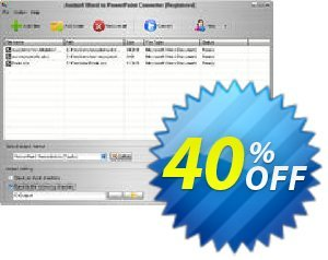 Aostsoft Word to PowerPoint Converter Coupon, discount Aostsoft Word to PowerPoint Converter Excellent discount code 2021. Promotion: Excellent discount code of Aostsoft Word to PowerPoint Converter 2021