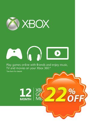 12 Month Xbox Live Gold Membership - (EU) deals