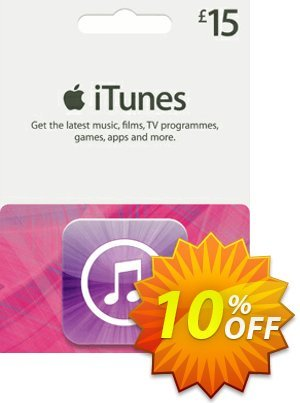 iTunes Gift Card - £15 Coupon, discount iTunes Gift Card - £15 Deal. Promotion: iTunes Gift Card - £15 Exclusive offer for iVoicesoft
