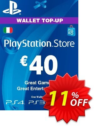 Playstation Network (PSN) Card - 40 EUR (Italy) Coupon discount Playstation Network (PSN) Card - 40 EUR (Italy) Deal. Promotion: Playstation Network (PSN) Card - 40 EUR (Italy) Exclusive offer for iVoicesoft