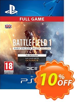 Battlefield 1 Early Enlister Deluxe Edition PS4 優惠券,折扣碼 Battlefield 1 Early Enlister Deluxe Edition PS4 Deal,促銷代碼: Battlefield 1 Early Enlister Deluxe Edition PS4 Exclusive Easter Sale offer for iVoicesoft