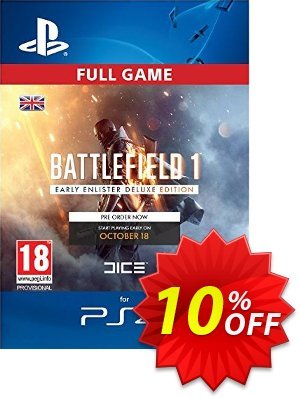 Battlefield 1 Early Enlister Deluxe Edition PS4 discount coupon Battlefield 1 Early Enlister Deluxe Edition PS4 Deal - Battlefield 1 Early Enlister Deluxe Edition PS4 Exclusive Easter Sale offer for iVoicesoft
